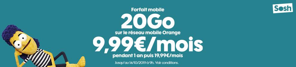Forfait mobile sosh 20 Go à 9,99€